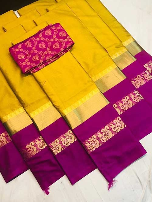 Yellow Colored Cotton Silk Saree with Extra Blouse - Priya