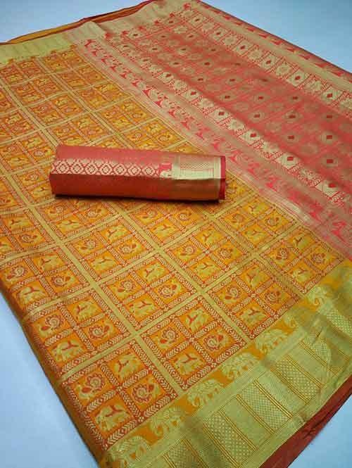 Yellow Colored Designer Soft Banarasi Silk Jacquard Weaving - trendy sarees