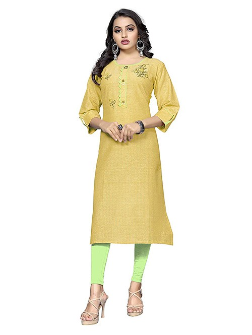 Yellow Colored Embroidered Straight Cotton Kurti Online