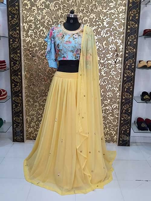Yellow Colored Georgette Lehenga With Beautiful Embroidered Crop Top