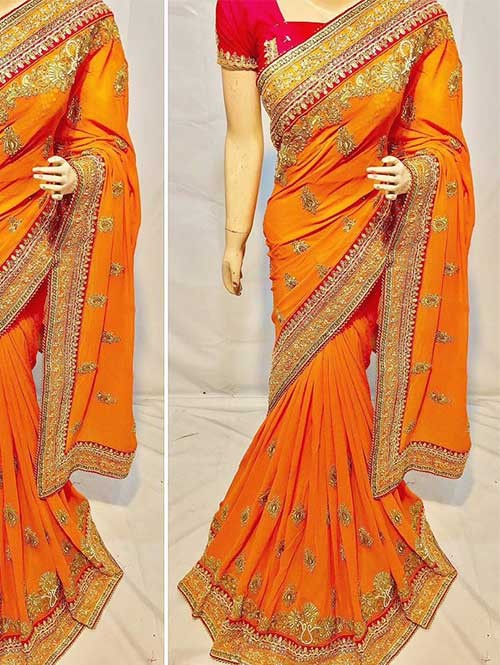 Yellow Colored Heavy Embroidered Pure Georgette Saree