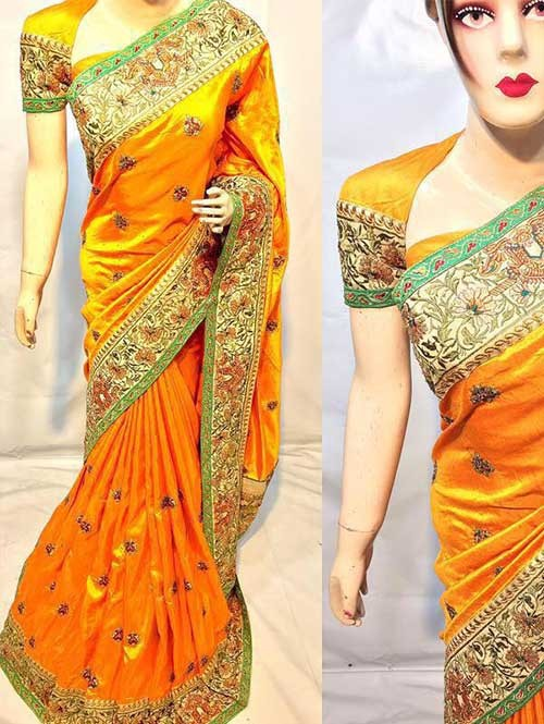 Yellow Colored Heavy Embroidered Silk Indian Traditional Wear Saree