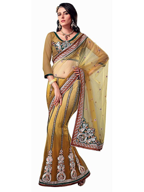 Yellow Colored Heavy Stone Work and Embroidered Fancy Net Lehenga With satin Inner