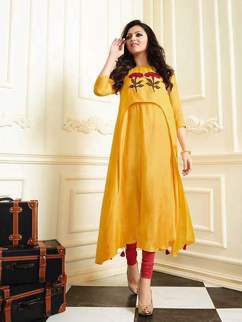 Yellow Colored Muslin Silk Embroidered Kurti
