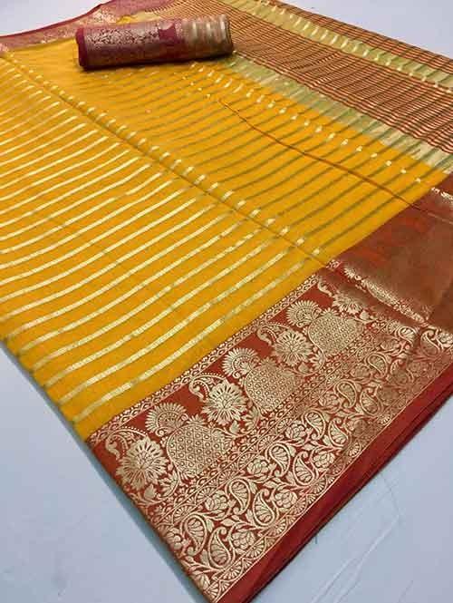 Yellow Colored Soft Cotton Weaving Designer Saree - New Saree Design