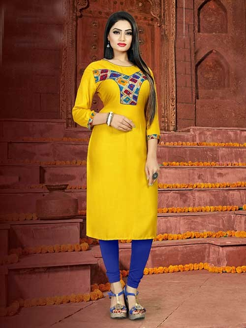 Yellow Colored Straight Rayon Print Kurti Online