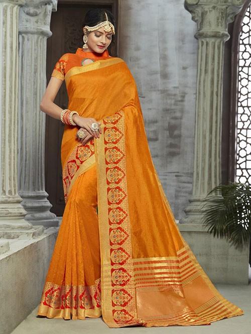 Yellow Colored Zari Chex Cotton Silk Fancy Saree