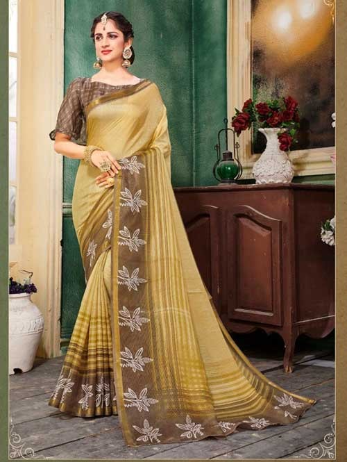 Yellow Colored Zari Chex Cotton Silk Saree - Vinamrta