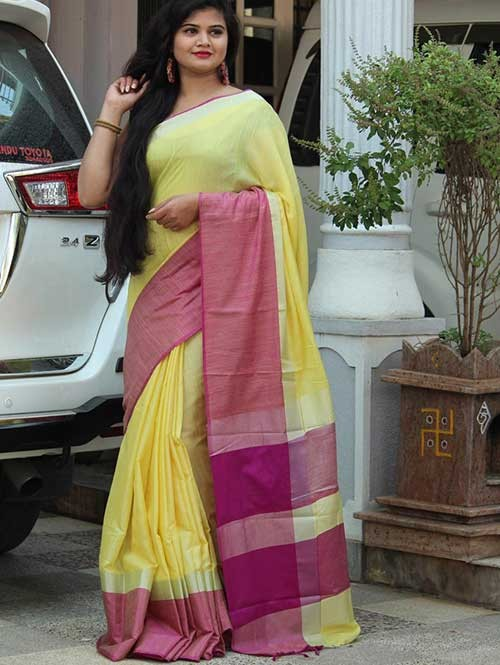 Yellow Colored Beautiful Linen Saree With Running Blouse