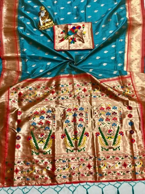 Adorable Design Soft Banarasi Silk Saree in Blue