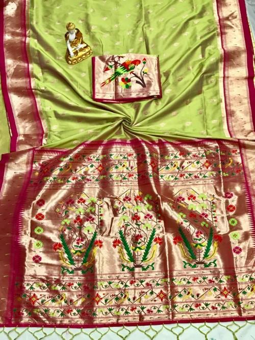 Adorable Design Soft Banarasi Silk Saree in Green