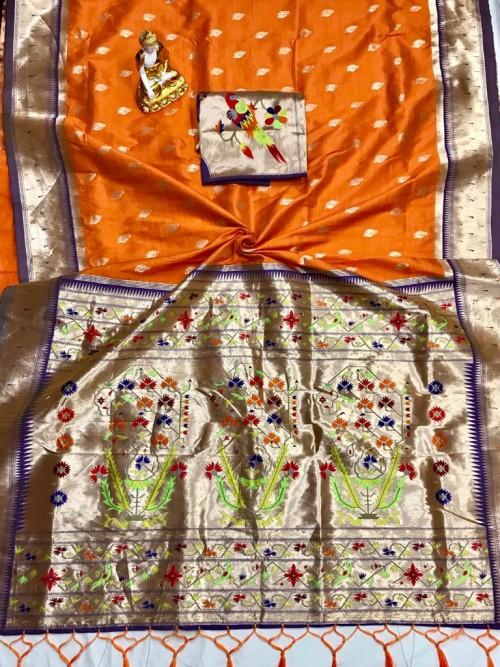 Adorable Design Soft Banarasi Silk Saree in Orange