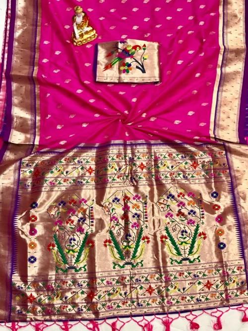 Adorable Design Soft Banarasi Silk Saree in Pink