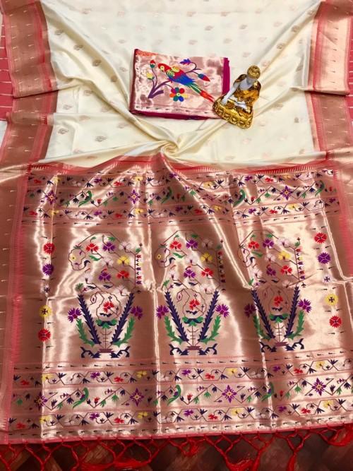 Adorable Design Soft Banarasi Silk Saree in White