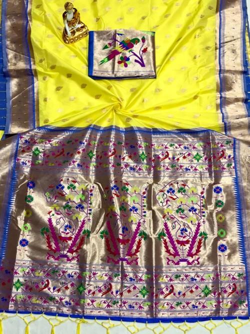 Adorable Design Soft Banarasi Silk Saree in Yellow grabandpack