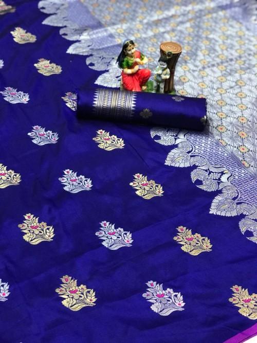 Blue Lichi silk woven party wear saree