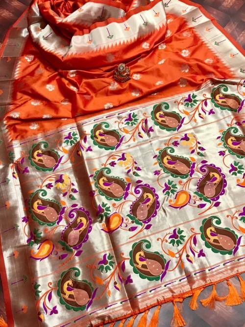 attractive Soft silk Kanchipuram saree in Orange