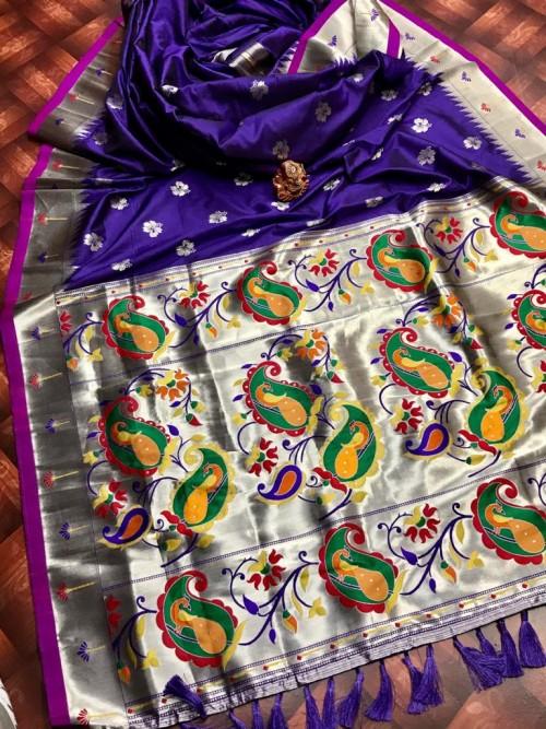 attractive Soft silk Kanchipuram saree in Purple
