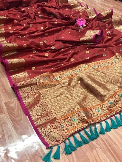Unique Banarasi Silk Saree in Maroon gnp0107928