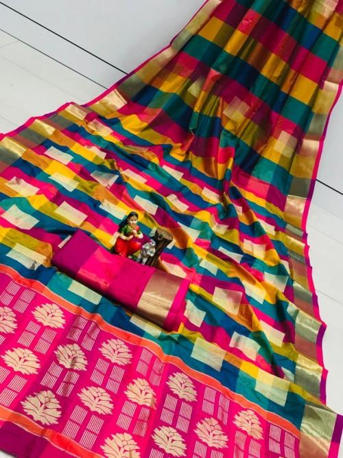 Banarasi Silk Saree With Golden Zari Weaving Design - gnp010110