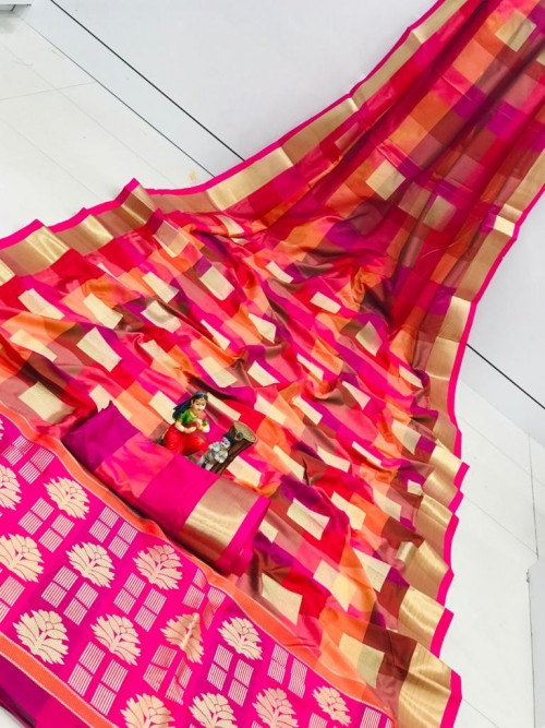 Banarasi Silk Saree With Golden Zari Weaving Design - gnp010112