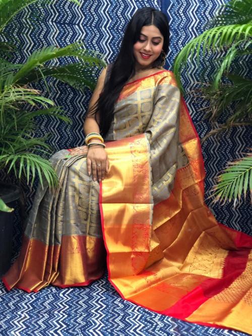 Beautiful Grey Banarasi Silk Saree grabandpack