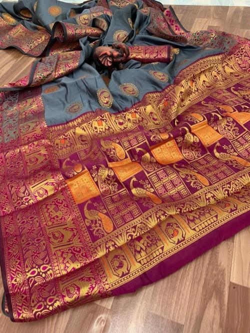 Grey banarasi silk saree online shopping - grabandpack