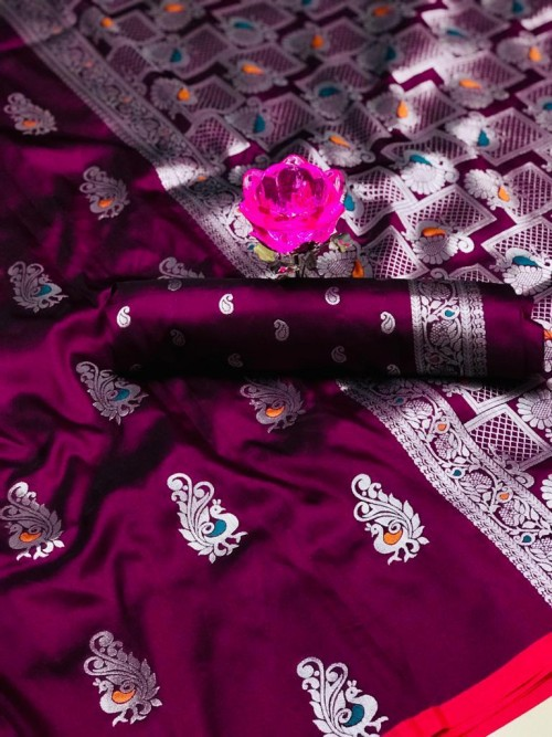 GrabandPack Beautiful Purple Banarasi Lichi Silk Weaving Jacquard Saree