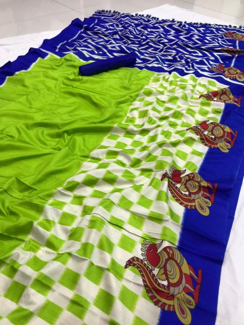 Beautiful Green semi Handloom Linen Chanderi Saree