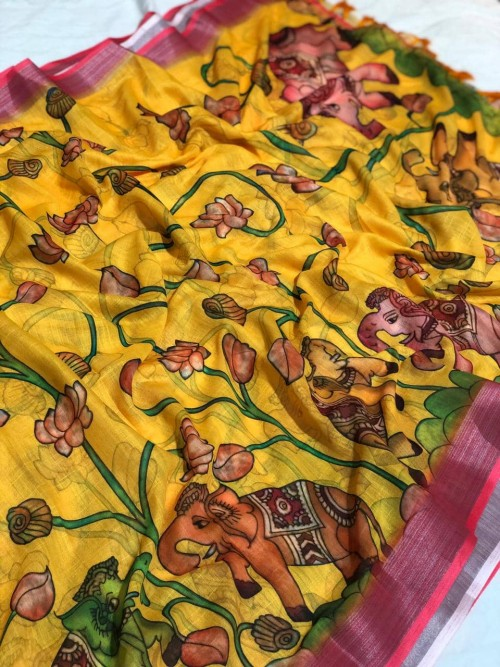 Yellow Lenin Digital Printed saree