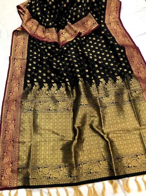 Black Banarasi silk Party wear saree