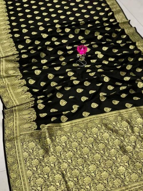 Black Banarasi Soft Silk Saree