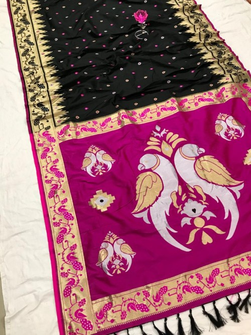 Black and Pink Function Special Pethani Silk saree