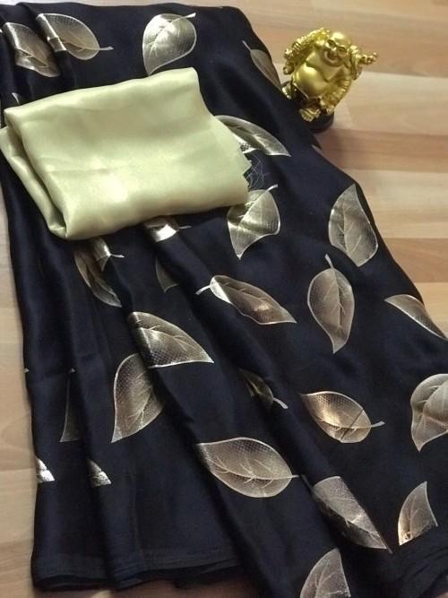 Black satin silk saree with golden satin Blouse - sarees online - gnp005360