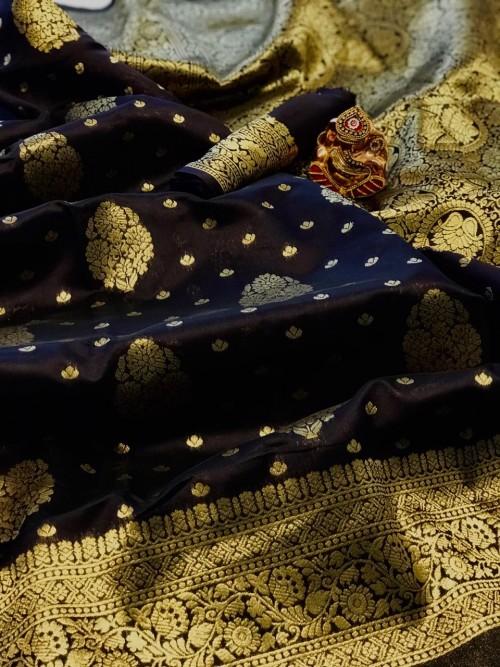 Black soft banarasi silk weaving gold jari border saree