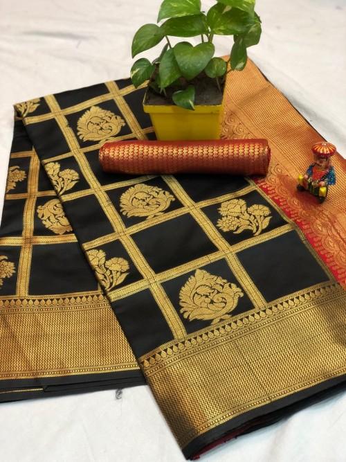 Black checks Banarasi silk zari work saree - banarasi silk sarees online shopping - saree at best Price