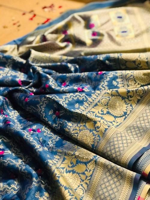 Sky Blue Banarasi saree look for reception
