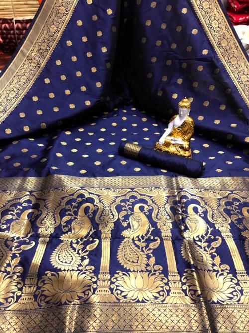 Blue color Soft silk saree online