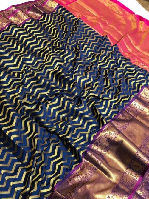 Blue Banarasi Silk With Zari Work Saree - gnp009389