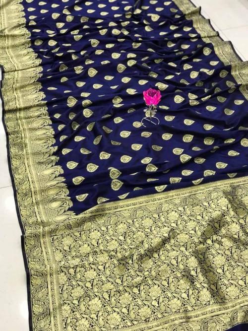 Blue Banarasi Soft Silk Saree