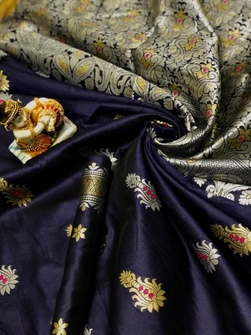 Blue Lichi Silk With Weaving Zari Designer Saree