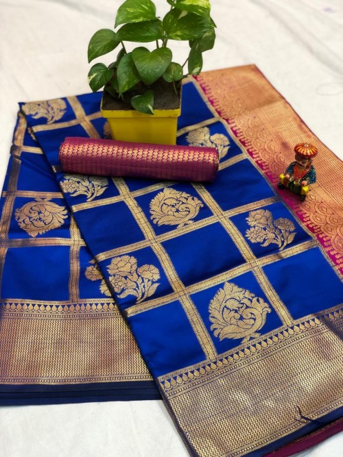 Blue checks Banarasi silk zari work saree - Shop Banarasi silk Sarees Online