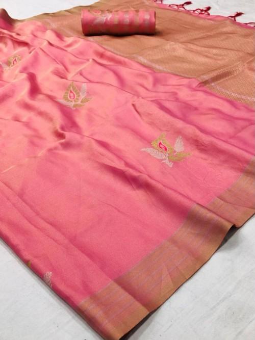 Branded Peach Soft Banarasi Silk Zari woven saree