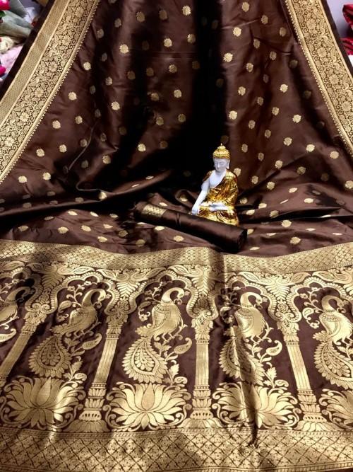 Brown color Soft silk saree online