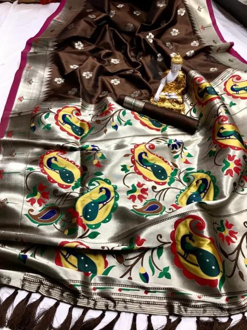 Brown coloured Kanjeevaram silk sarees online shopping