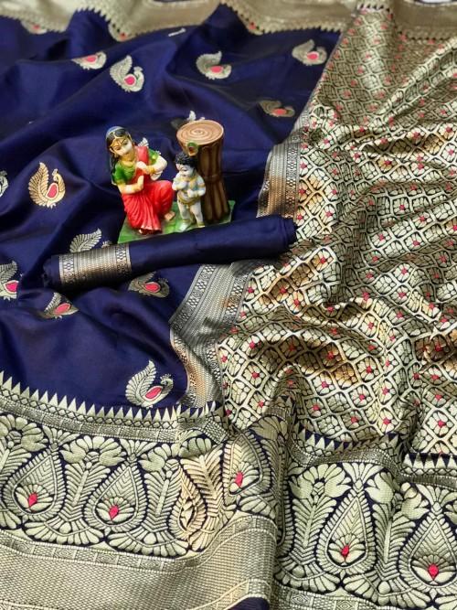 charming Blue banarasi soft silk sarees online gnp010401