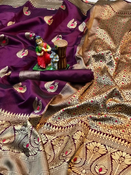 charming Purple banarasi soft silk sarees online