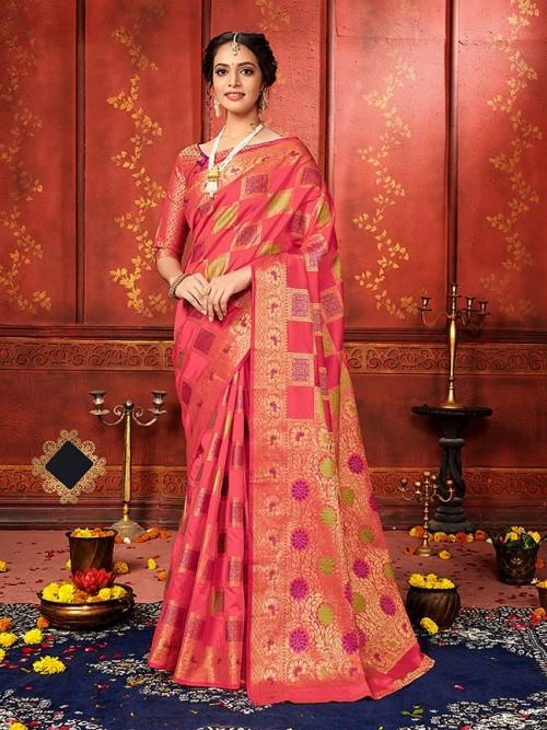 checks soft silk saree shopping in Peach
