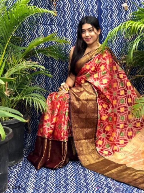 Designer Ikkat Weaving Silk Saree in Maroon grabandpack