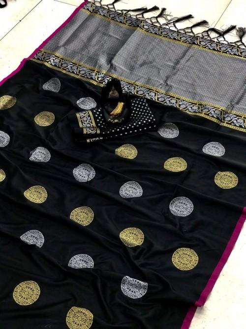 Black Soft Banarasi Silk saree
